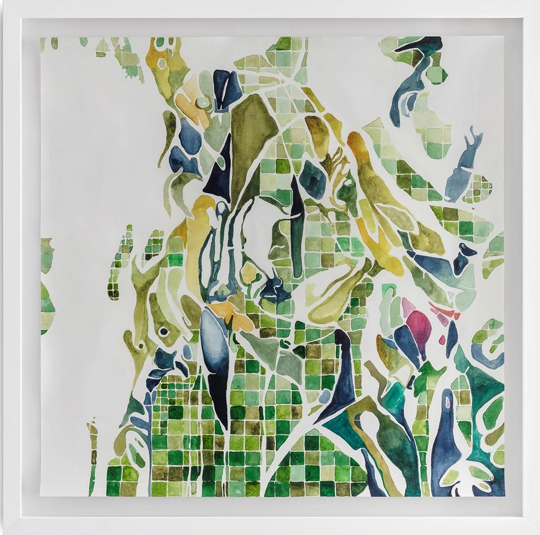 CAMADAS GREN 1 (2018)<br>Aquarela e óleo sobre papel de algodão<br>63x63 cm