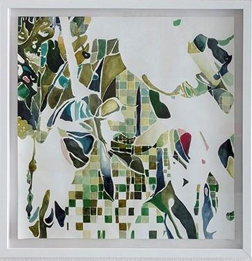 CAMADAS GREN 2 (2018)<br>Aquarela e óleo sobre papel de algodão<br>63x63 cm