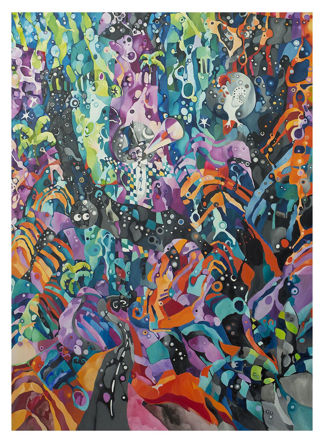 Midnight call (2012)<br>Óleo sobre tela<br>180x130cm Coleção Particular