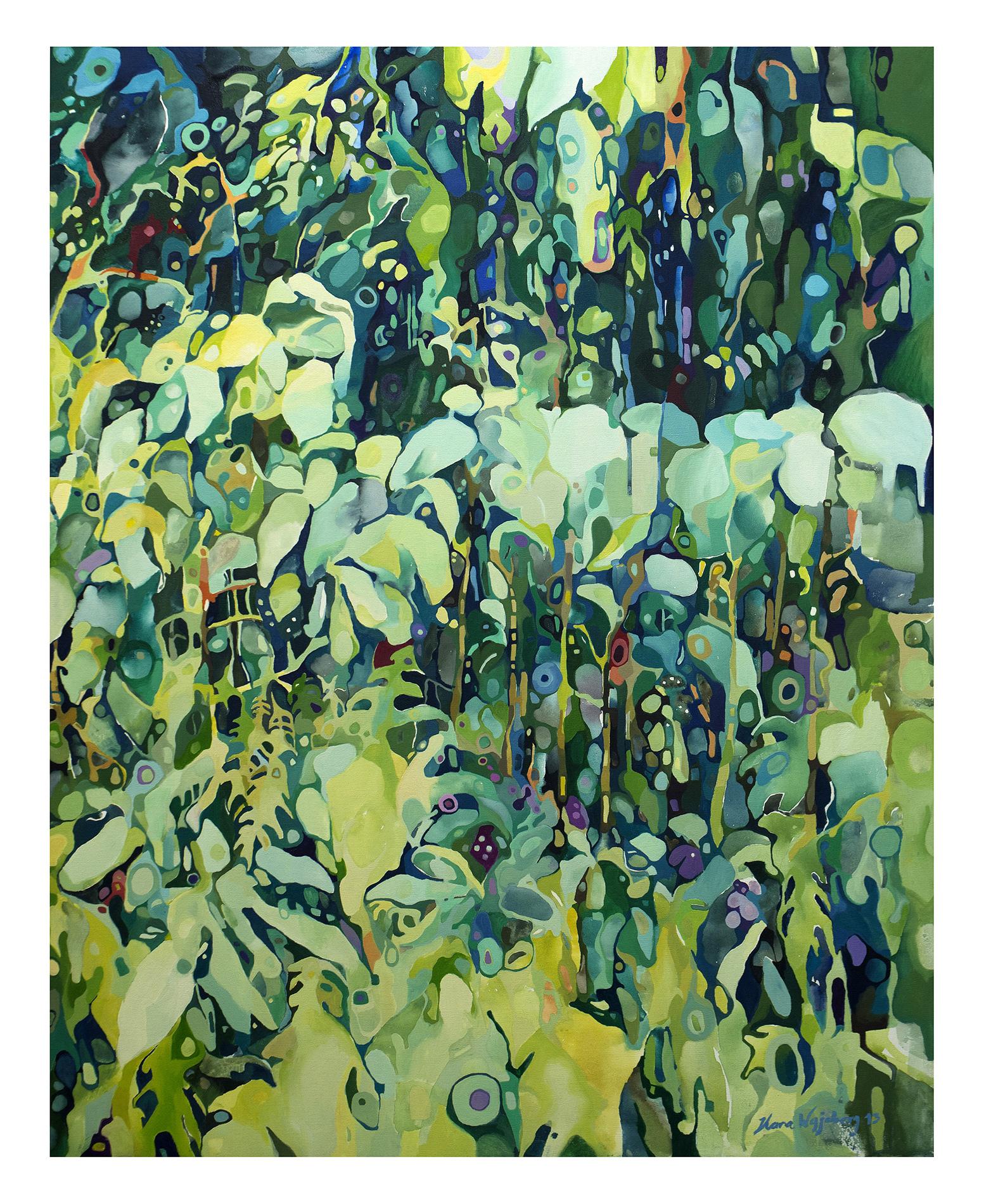 Jardim Botânico (2013)<br>Óleo sobre tela<br>100 x 80 cm Coleção Particular