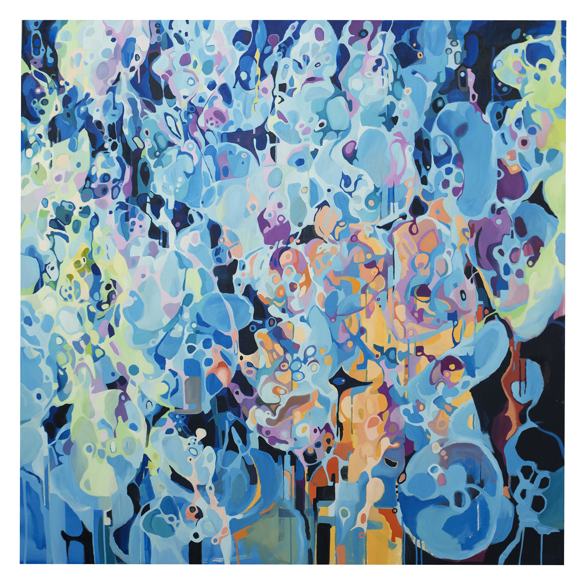 Mergulho (2013)<br>Óleo sobre tela<br>130x130cm
