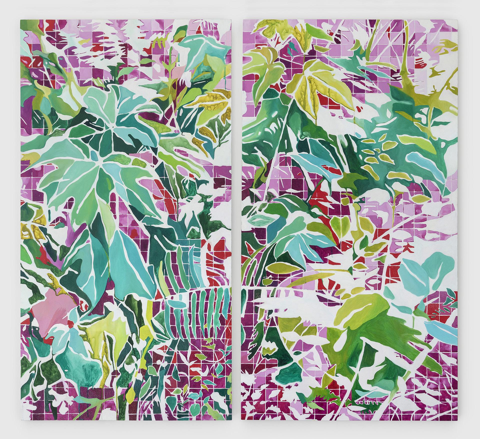 Curas das florEs internas (2019)<br>AcrÍLICA e óleo Sobre tela<br>120x120 cm