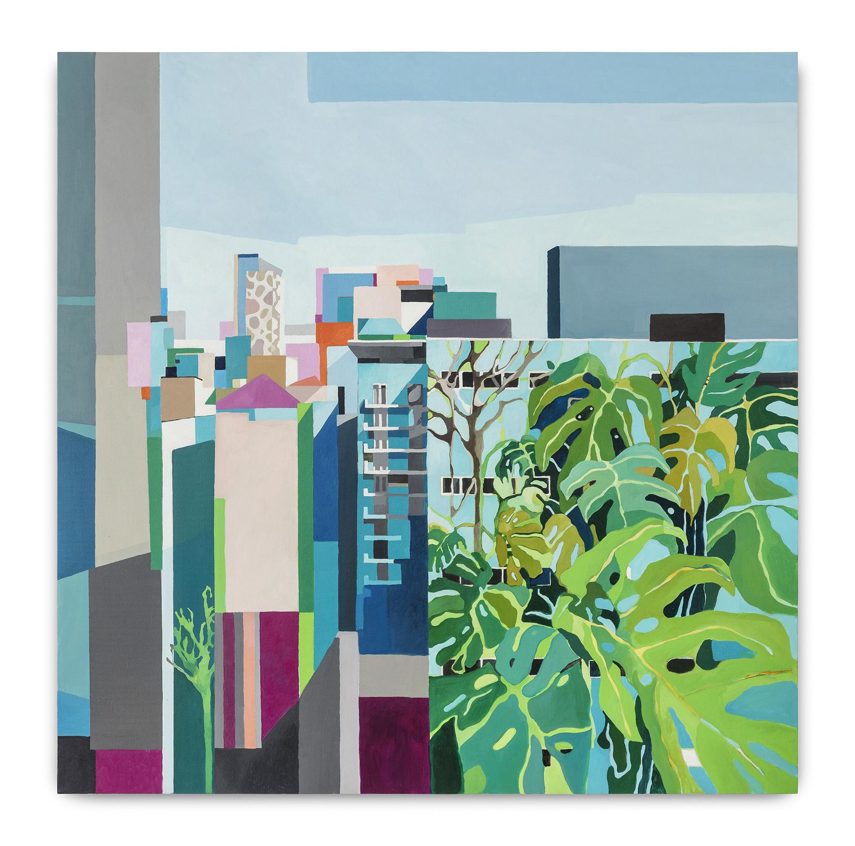 Imaginação Urbana (2018)<br>AcrÍLICA e óleo Sobre tela<br>120x120 cm
